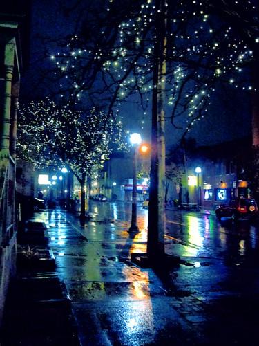 street blue holiday art rain night digital photoshop altered reflections landscape lights mood michigan photoshopped scene arbor ann seenontheweb dwcffnight mybestartwork degryapp