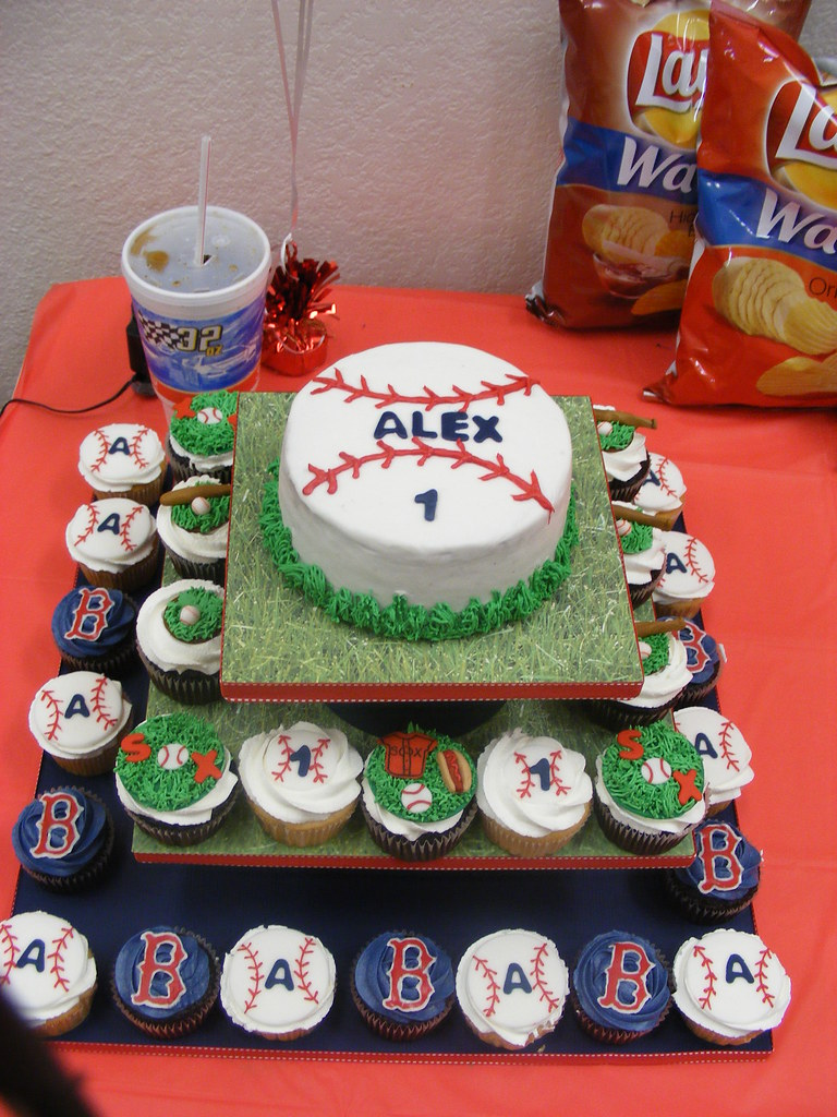 Astounding Red Sox Baseball Birthday Cake And Cupcakes I Was Asked To Flickr Funny Birthday Cards Online Fluifree Goldxyz