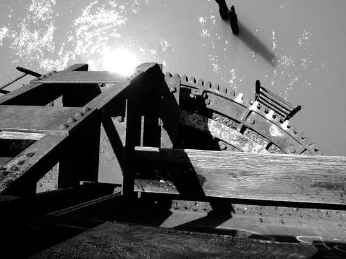 swing railroad railway train bridge neches river evadale texas historic onthebridge black white blackandwhite blackwhite bw b w movable moving draw drawbridge pontist united states north america