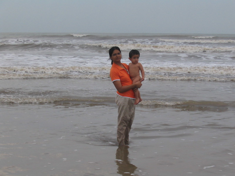 Samit with mom at beach