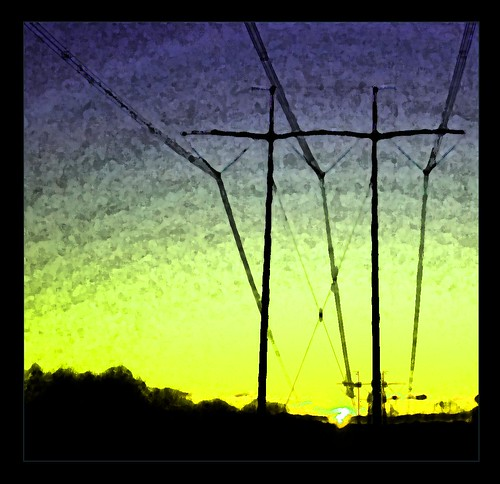 morning abstract yellow sunrise violet highcontrast powerlines processed