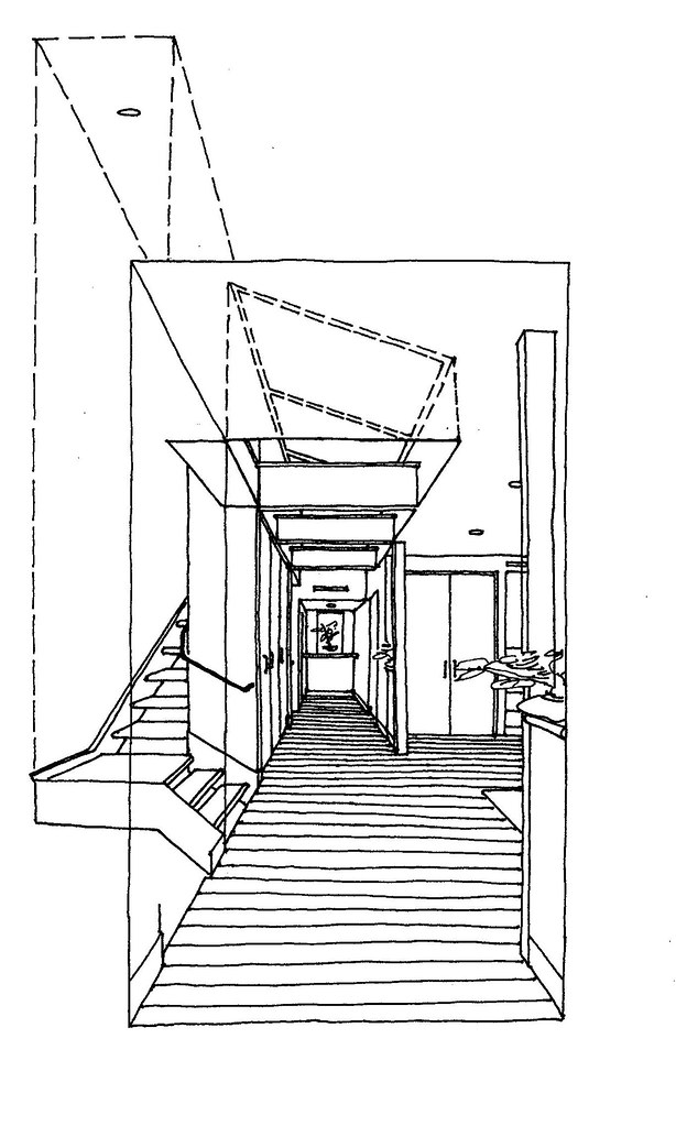 43 St Master Bedroom Hallway Perspective Sketch Freehand D Flickr