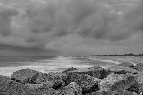 ocean storm beach rain clouds nc rocks waves northcarolina predawn fortfisher ghholt