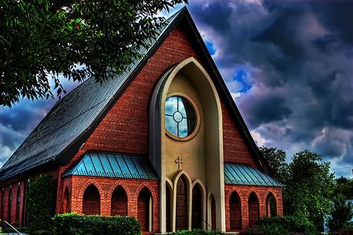 sky church clouds northcarolina hdr episcopal graceepiscopalchurch lexingtonnc jeanetterunyon
