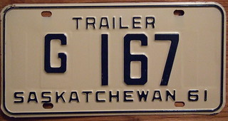 SASKATCHEWAN 1961 GOVERNMENT TRAILER plate
