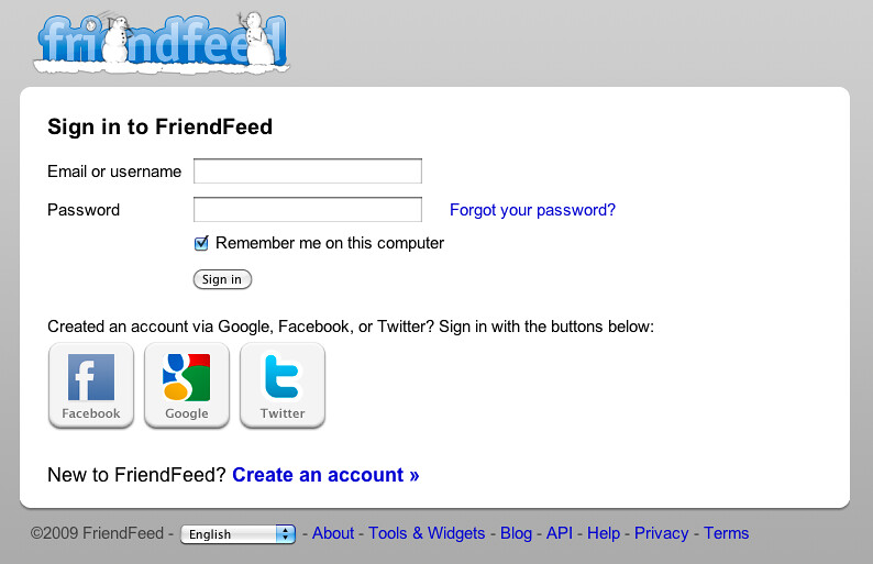 FriendFeed - Sign in