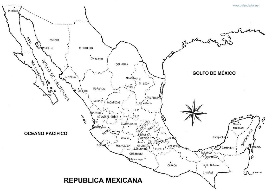 Mapa De La Republica Mexicana Con Nombres Y División Polí Flickr