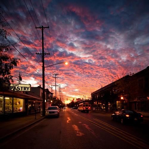 sky urban clouds sunrise michigan september east uptown grandrapids eastfultonatdiamond