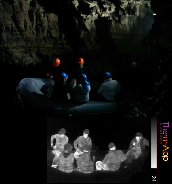 Smoo Cave boat thermal and visible image