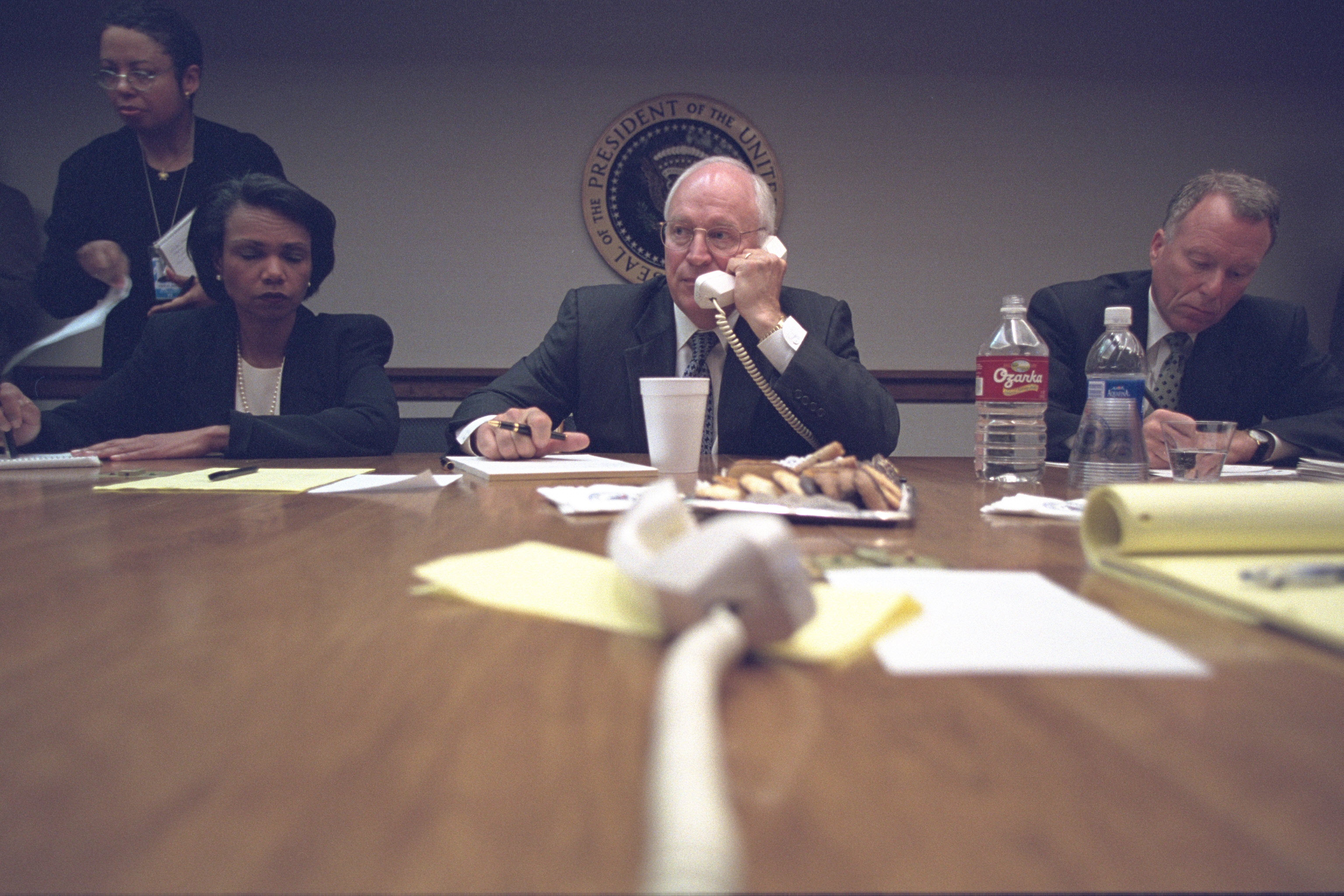 Vice President Cheney with National Security Advisor Condoleezza Rice and Chief of Staff I. Lewis