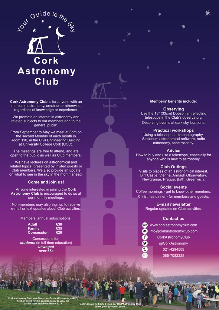 Cork Astronomy Club Poster | A3-size publicity poster for th