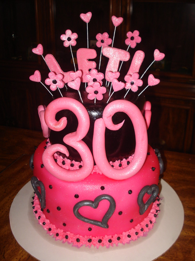 Sensational 30Th Birthday Cake 30Th Birthday Cake Pink And Black With Flickr Personalised Birthday Cards Cominlily Jamesorg