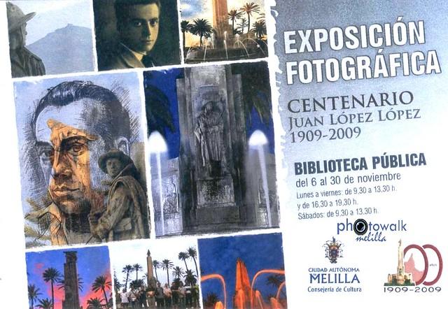 Cartel Exposición Centenario Nacimiento Escultor Melillense   Juan López López GRUPO PHOTOWALK MELILLA