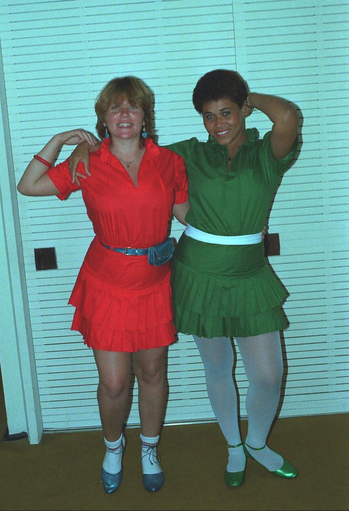 Charming Fun Brazilian Ladies Rio de Janeiro Copacabana Beach Leme Palace Hotel 1982 002 Green and Red Dresses