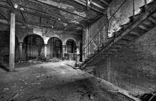 abandoned bw black blackandwhite d300 dansville dirt dirty hdr hdri highdynamicrange jackson ny newyork nikon photomatix ruin ruins sanitorium urbanexploration white abandon arch building column decay decaying dust entrance exploration hall stairs urban urbex windows sigma50th castle hill castleonthehill thecastleonthehill decayed crumbling brick wellness off limits kellogg granoola