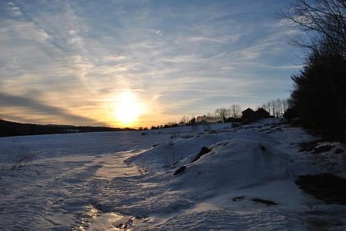 winter sunset sky snow nature yard farm maine farmington