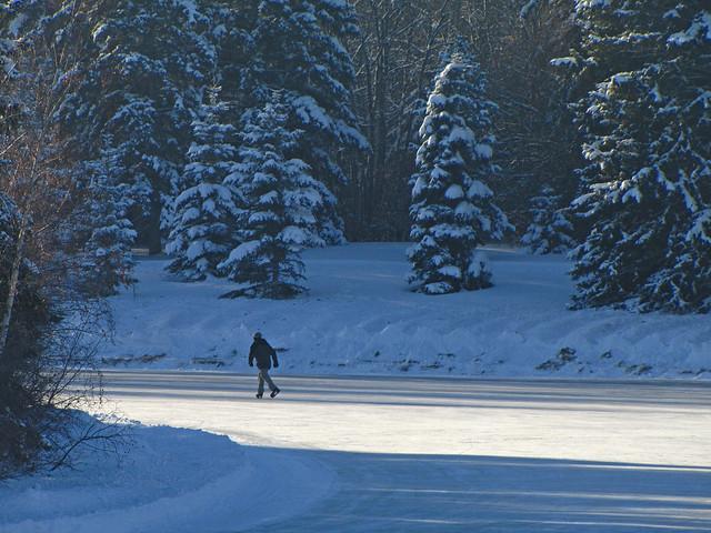 Lone skater, Hawrelak Park, Christmas Day