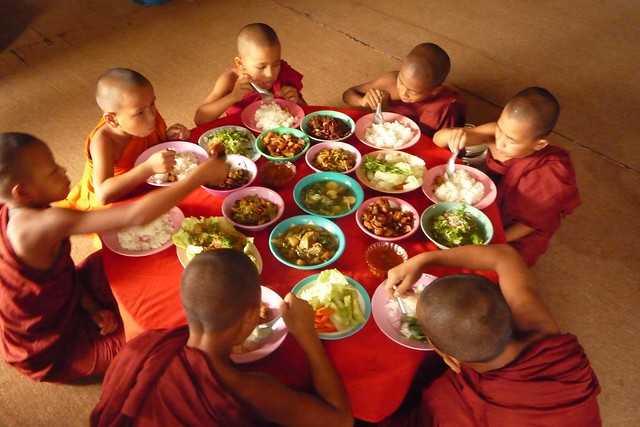 Little Monks Taking Their Lunch - Shan State, Myanmar