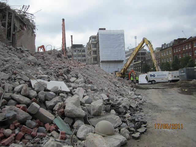 Rubble at Nat West Bank Demolition site Leman Street E1