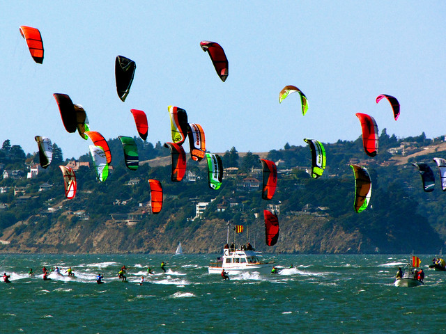 Kite-surfers bunching...