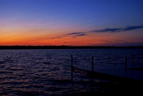 sunset shadow lake water minnesota clouds twilight dock waves cross dusk crosslake mn crowwing flickrlovers sonyalphadslra200
