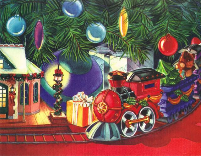 Colorful Train Christmas Card