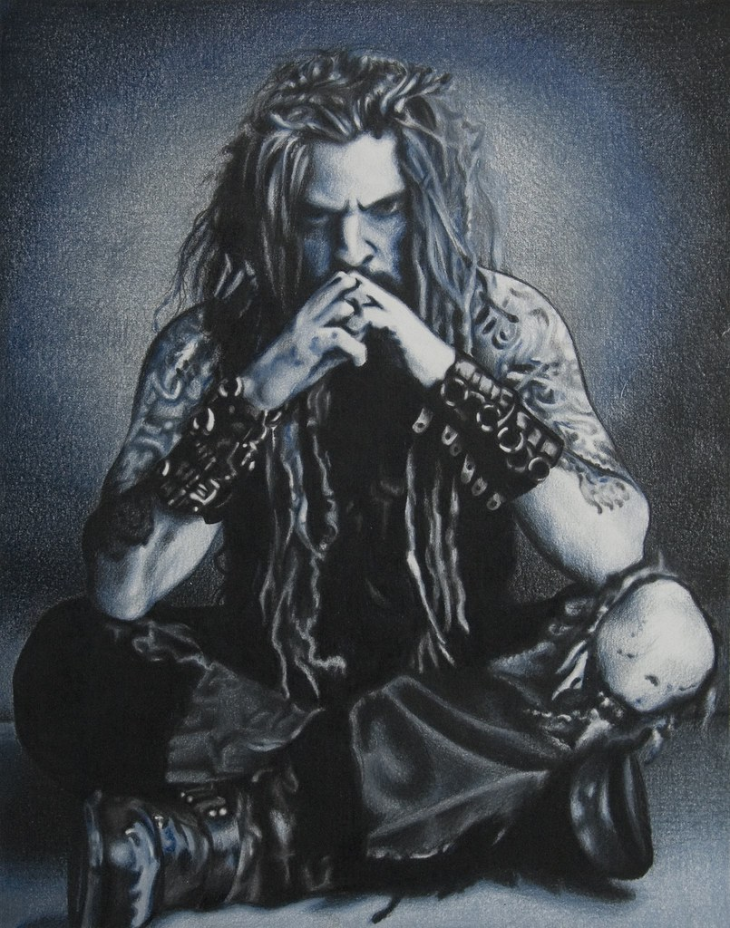 Rob zombie coloured pencil drawing by beautyinmetal