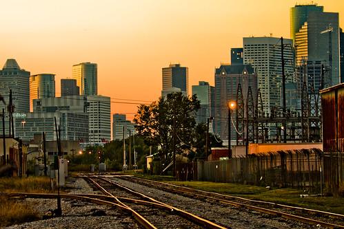 november skyline downtown houston 2009 railroads