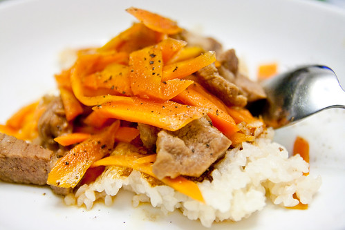 Rice with soy-flavoured pork and carrots | by yannie
