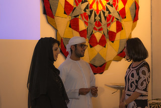 Ameera Amir, President of the Columbia Alumni Association UAE, His Highness Sheikh Khalifa Bin Sultan Al Nahyan, and Sara Alamzadeh, Columbia Alumni Association UAE Board Member | by UAE Columbia Alumni
