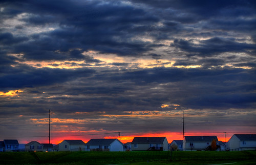 houses red sky clouds sunrise landscape powerlines cloudynight nikon55200mm perfectsunsetssunrisesandskys nikond5000