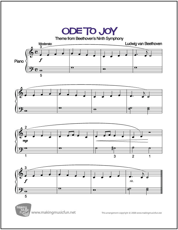 Ode to Joy (Beethoven) | Beginner Piano Sheet Music (PDF
