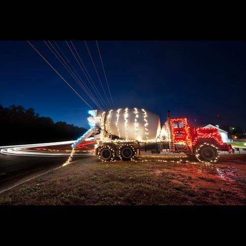 christmas blue sky holiday lights noir santas cement mixer delivery 2009 skynoir bybilldickinsonskynoircom