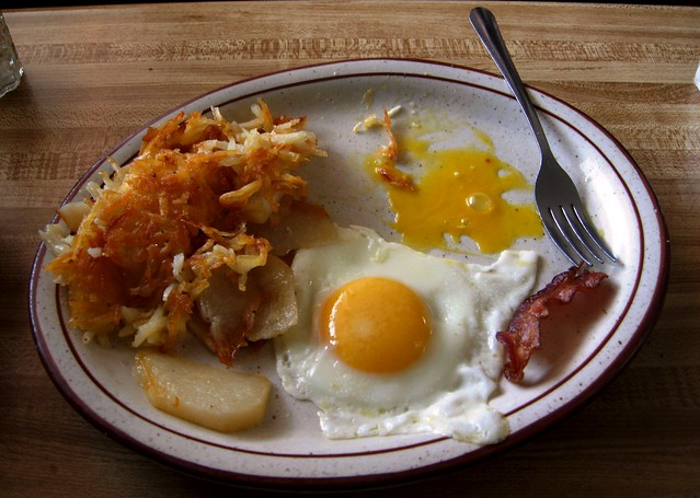 2 eggs over VERY easy with bacon and hash browns