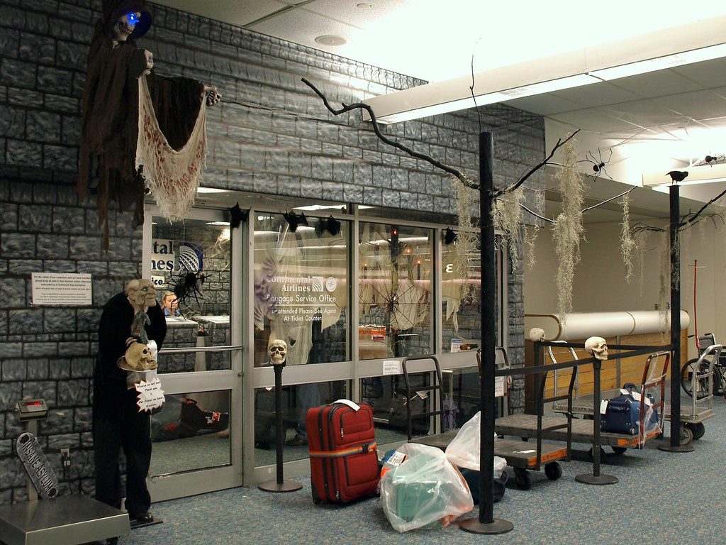 Continental Airlines Baggage Office Halloween Decorations