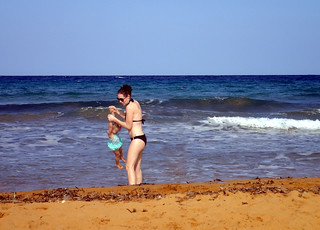 2016 - Europe - Gozo - Beach Day - Julie in Sea with Millie | by SeeJulesTravel