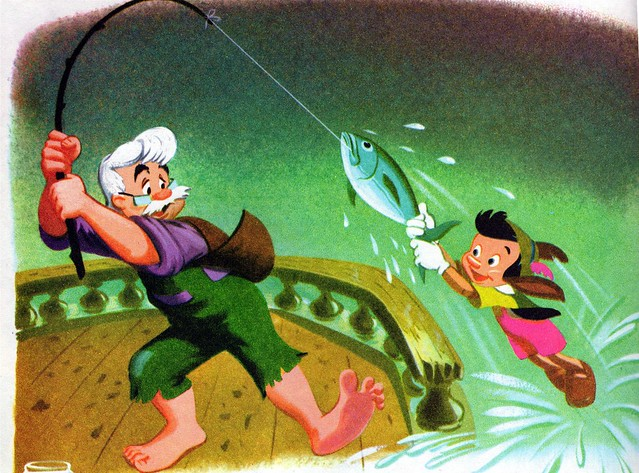 Geppetto was pulling a fish out of the water...