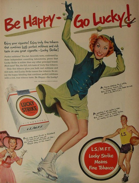 ... 1950s LUCKY STRIKE CIGARETTES vintage advertisement illustration pinup  girl ice skating woman man basketball illustration athlete