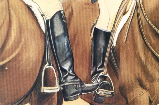 Jockey Feet Art Postcard