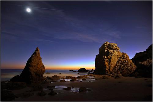 ocean longexposure sunset moon beach twilight rocks surf elmatadorstatebeach titlecomesfromabookiwrotewheniwas11