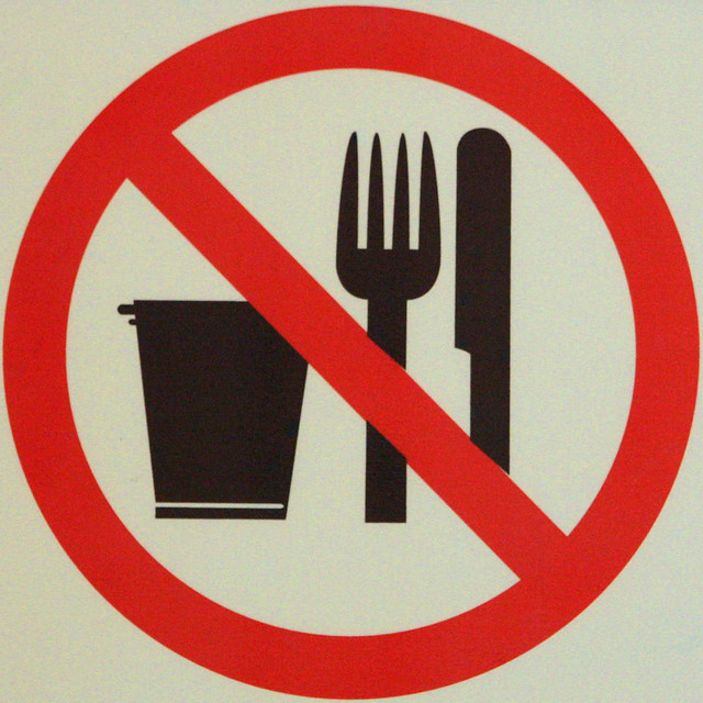 No drinking or eating