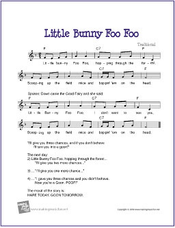 Little Bunny Foo Foo   Free Sheet Music for Guitar (Lead S