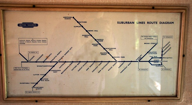 Kings Cross Suburban Lines route Diagram in a BR Mk1 Suburban Coach (Brake 2nd) on the North Norfolk Railway