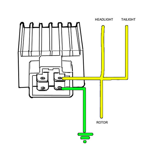wiring a voltage regulator rectifier on a z50r this is my Caltric Regulator Rectifier Wiring-Diagram