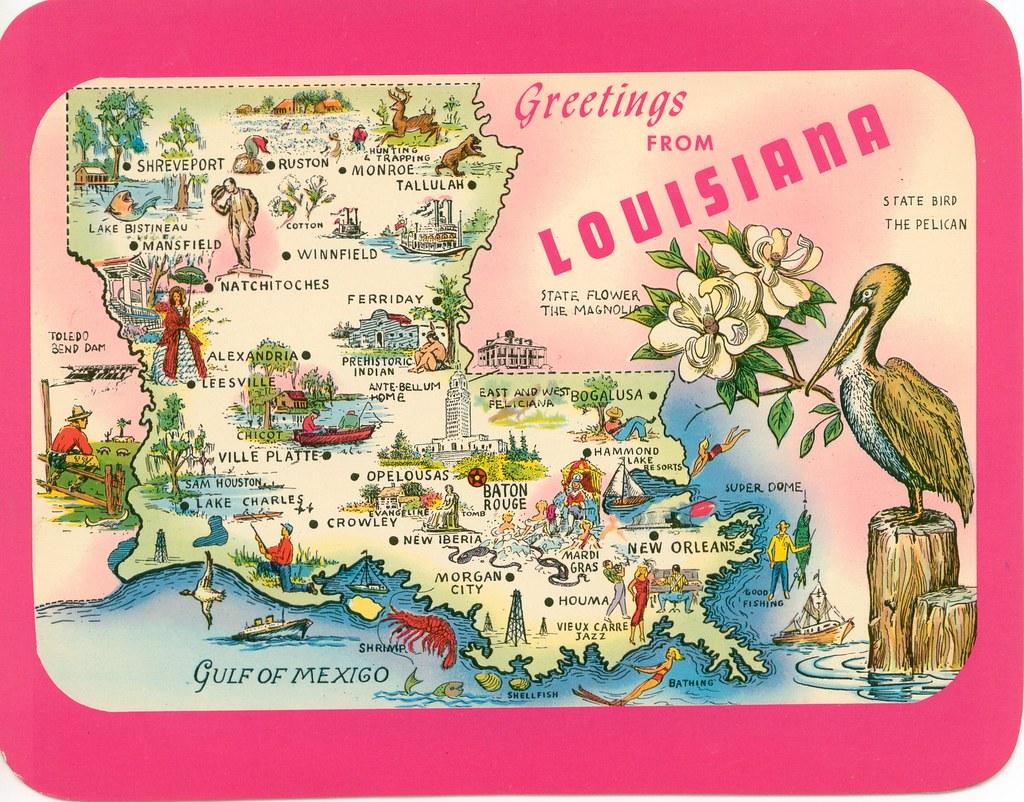 Louisiana map postcard | Honijeaux | Flickr