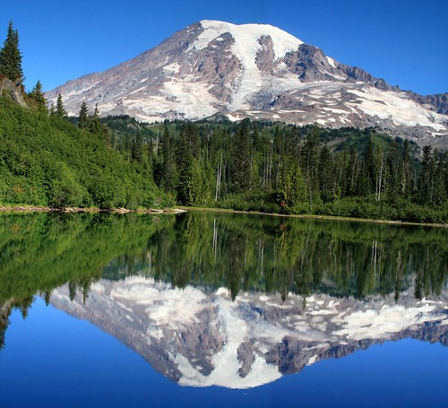 Stitched shot of Mt. Rainier reflected on Bench Lake   by Alaskan Dude