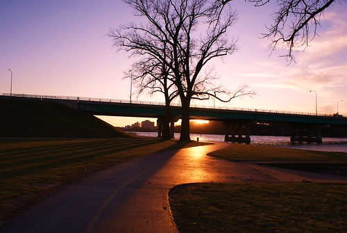 bridge sunset river illinois downtown sony il rockford rockriver a300 winnebagocounty