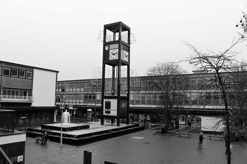 stevenage hertfordshire england unitedkingdom uk canoneos100d blackandwhite explored town fountain clocktower shops wilko sg1