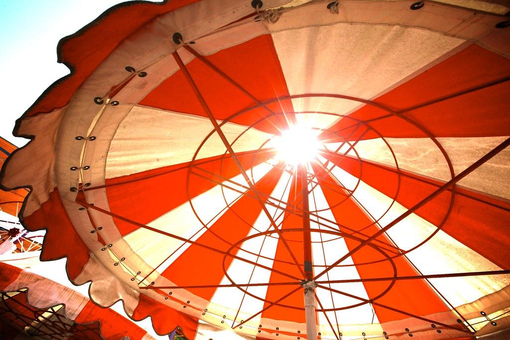 Orange Show Umbrella Sunflare