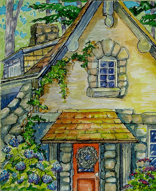 Hydrangeas by the Door Retro Storybook Cottage Series
